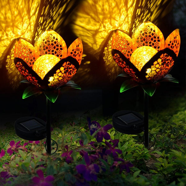 Solar Hollowed Flower Garden Pathway Stake Light