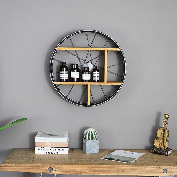 Lau - Wood & Iron Wheel Shelf