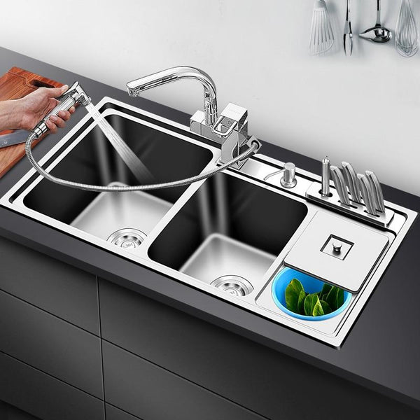 Ross - Stainless Steel Double Countertop Kitchen Sink with Trash Can