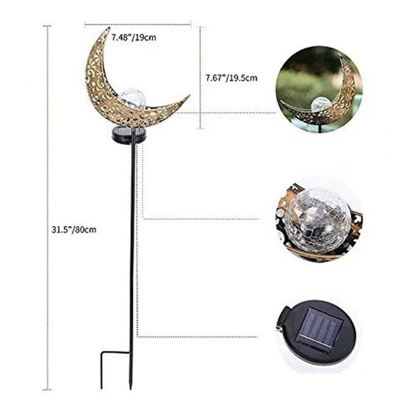 Solar Crescent Moon Stake Garden Light
