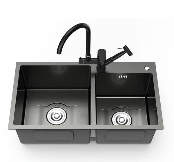 Daxon - Black Nano Stainless Steel Double Kitchen Sink with Soap Dispenser