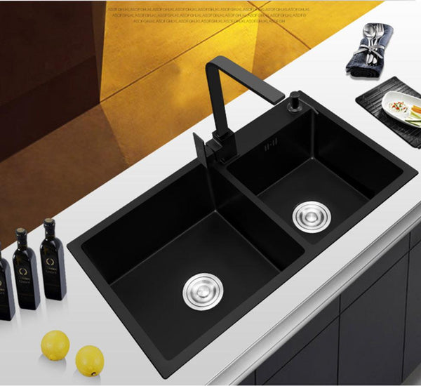 Ari - Black Nano Antibacterial Stainless Steel Double Bowl Kitchen SInk