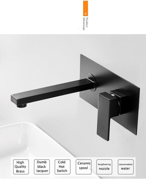 Odell - Luxurious Matte Black Wall Mounted Bathroom Faucet