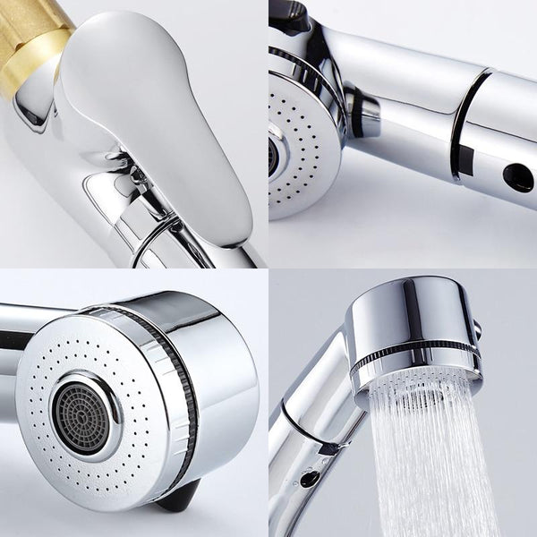 Berta - Pull Out Chrome Finish Bathroom Sink Faucet