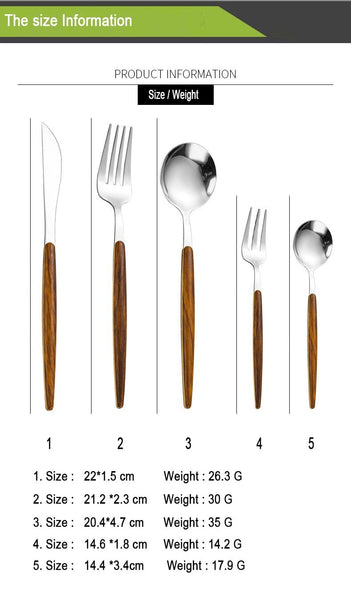 Wood Handle Cutlery Set