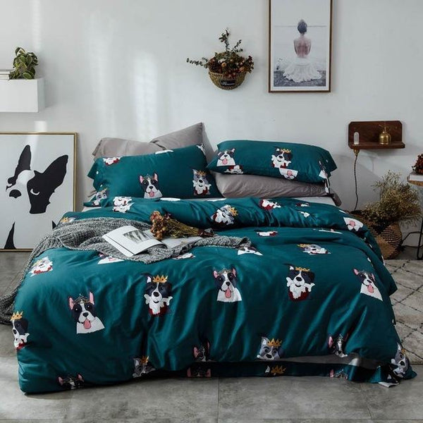 Crowned Dogs Duvet Cover Set