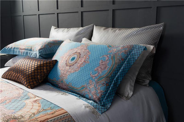 Blue and Gold Oriental Duvet Cover Set
