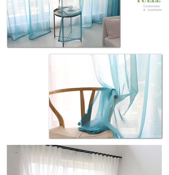 Gradient Tulle Sheer Curtains
