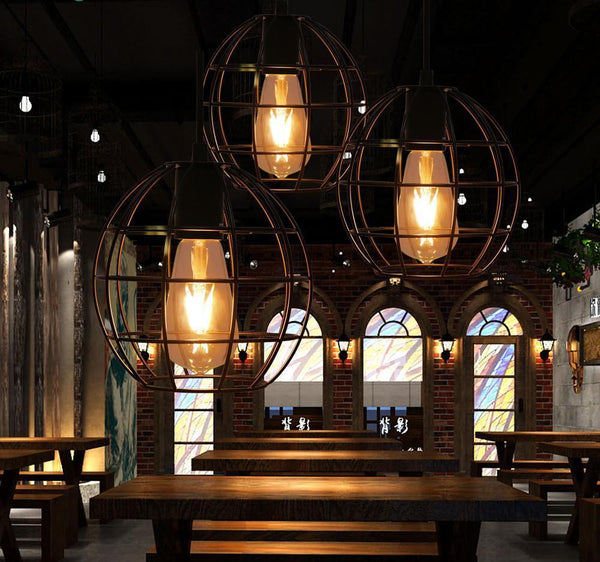Spherical Cage Hanging Drop Light Ceiling Light Warmly