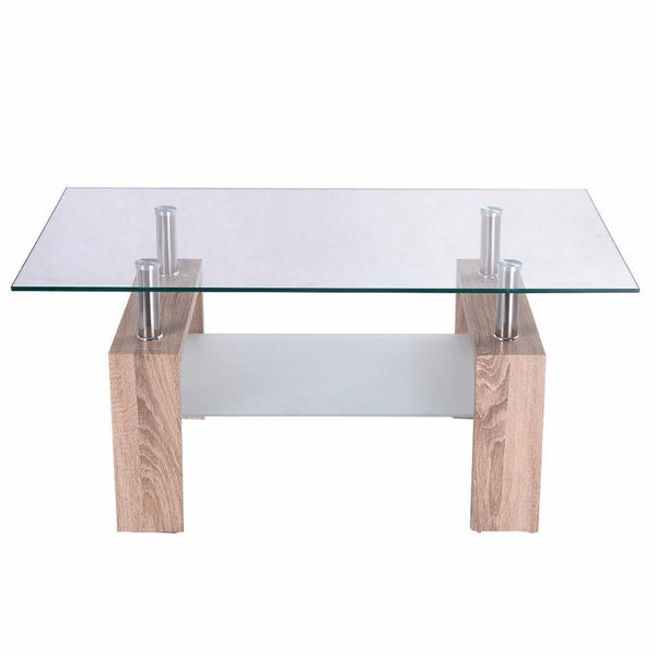 Bertha - Modern Glass Coffee Table with Storage Shelf