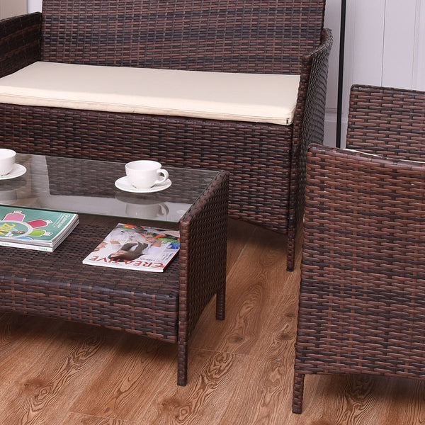 Declan - 4 Piece Patio Rattan Furniture