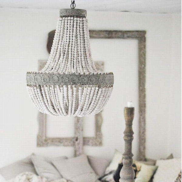 vintage wooden beaded round chandelier