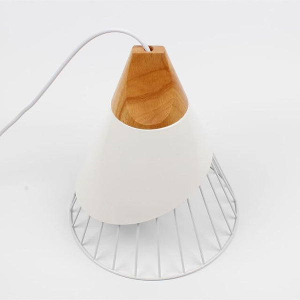 Wooden Base Iron Cage Handing Nordic Lamp