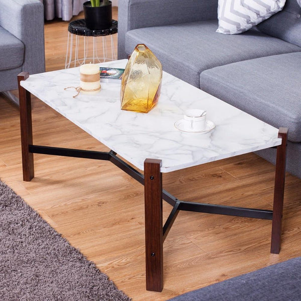 Fable - Faux Marble Top Living Room Coffee Table