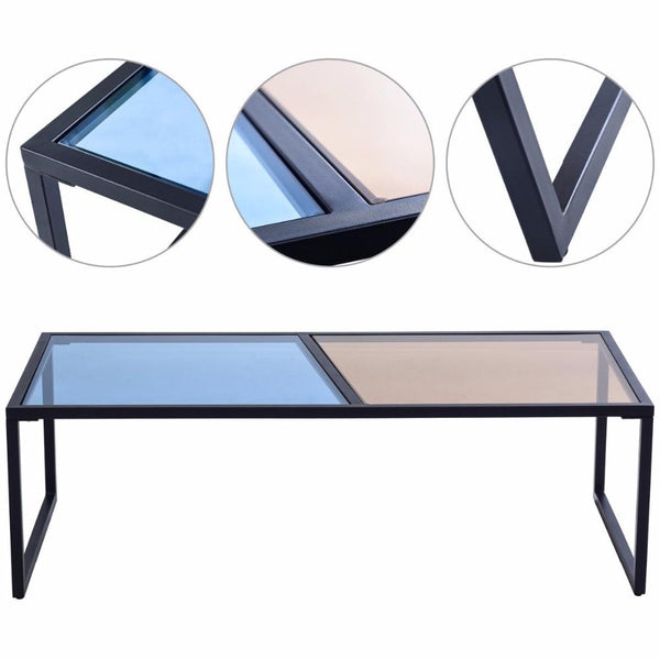Theo - Rectangle Dual Color Glass Top Coffee Table