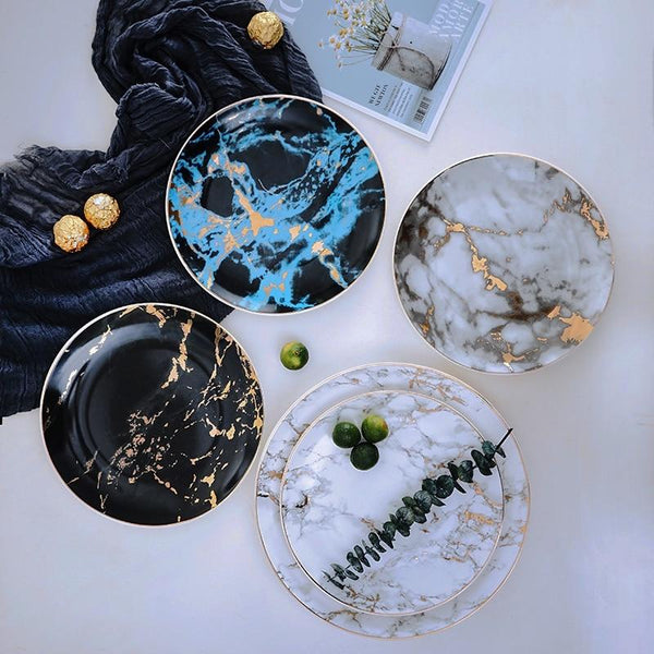Set of 4 Unique Marble Ceramic Dinner Plates