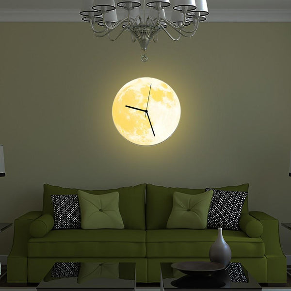 Wondrous Lua 3D Glow In The Dark Moon Wall Clock Andrewgaddart Wooden Chair Designs For Living Room Andrewgaddartcom