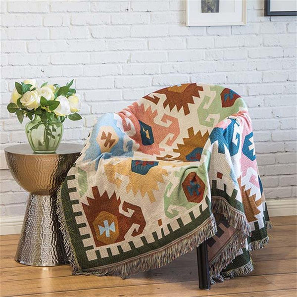 Mediterranean Geometric Pattern Throw Rug