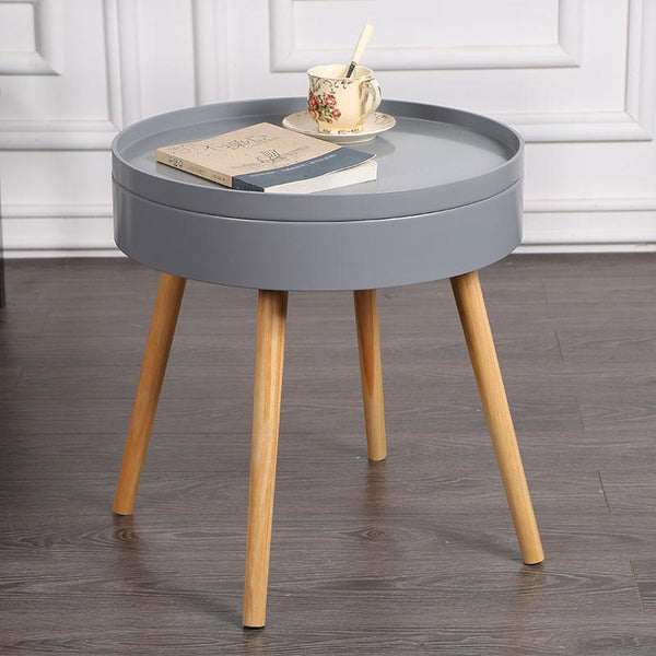 Carson Modern Nordic Storage Round Side Table Warmly