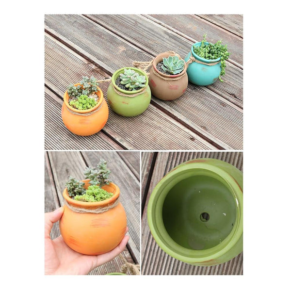 4 Piece Ceramic Wall Mount Planter Pot