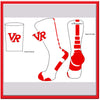 Vista Ridge logo Crew Socks White with Red Stripe-R