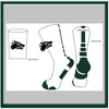 Cedar Park Logo Crew Socks White with Green Stripe-R
