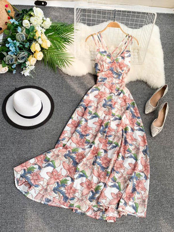 Backless Floral Dress - Fionana