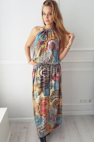Sleeveless Boho Floral Dress
