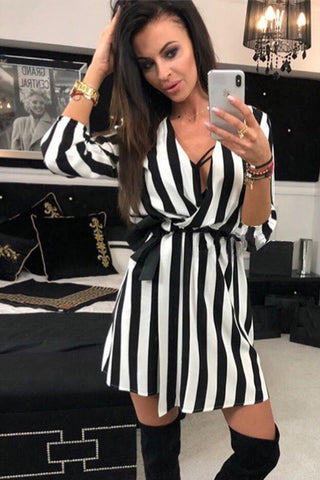 Bohemia Black White Stripe Splicing Sexy V-neck Mini Dress - Fionana