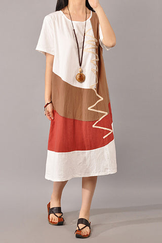 Summer Sexy O-Neck Short Sleeve Vintage Dress - Fionana