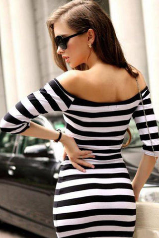 Slim Stripe  Collar Strapless Package Hip Plus Size Sweet Beach Style Dress - Fionana