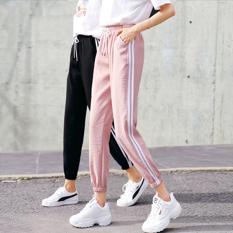 Side-Stripe Casual Sweatpants Pants - Fionana