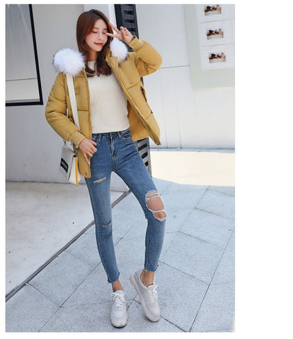 Winter Women Warm Jacket Hooded Thickening Cotton Coat - Fionana