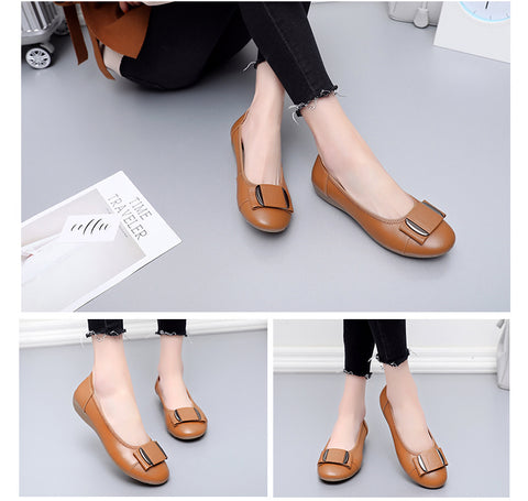 Genuine Leather Flat Casual Work Loafers Ballet Flats - Fionana