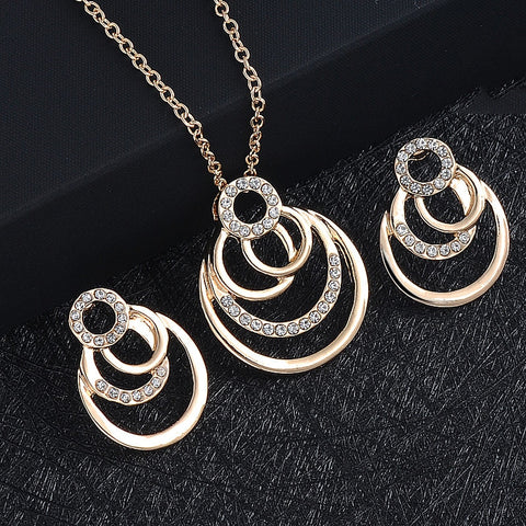 Geometric circle Rock Punk Stud Earrings/necklace Jewelry Set - Fionana