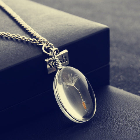 Natural Dandelion Round Crystal Pendants Handmade Custom Dried Flowers Necklaces - Fionana