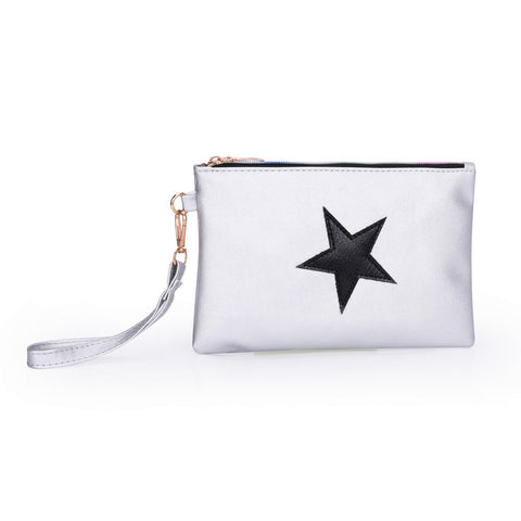 Leather Star Pattern Zipper Clutch - Fionana