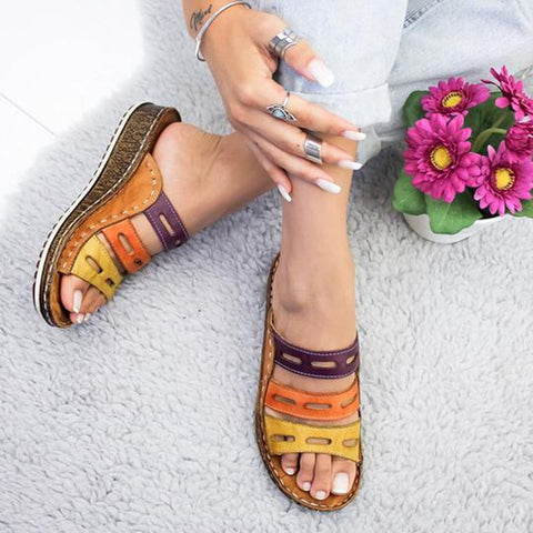 Rome Retro Three-color Casual Shoes Thick Bottom Wedge Open Toe Sandals - Fionana