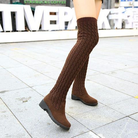 Thigh High Boots for Woman Shoes Knitting Wool Long Boot - Fionana