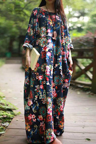 Autumn Casual Loose Long Sleeve Floral Boho Dresses - Fionana