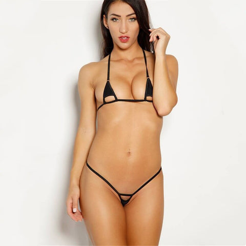 Micro Bikini Sexy Solid Color Sling Hollow Lotion Girl Beach Sunbathing Swimwear - Fionana