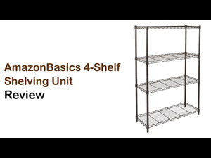 The AmazonBasics 4-Shelf Shelving Unit is affordable and both quick and easy to setup