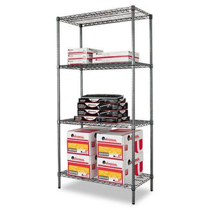 Alera® Wire Shelving Starter Kit, Four-Shelf, 36w x 18d x 72h, Black Anthracite