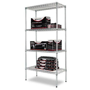 Alera® Industrial Heavy-Duty Wire Shelving Starter Kit, 4-Shelf, 36w x 18d x 72h,Silver