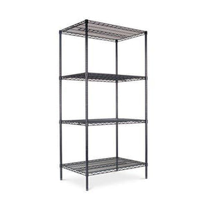 Alera® Industrial Heavy-Duty Wire Shelving Starter Kit, 4-Shelf, 36w x 24d x 72h, Black
