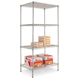 Alera® Industrial Heavy Duty Wire Shelving Starter Kit, 4-Shelf, 36w x 24d x 72h,Silver
