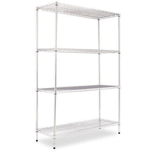 Alera® Industrial Heavy-Duty Wire Shelving Starter Kit, 4-Shelf, 48w x 18d x 72h,Silver
