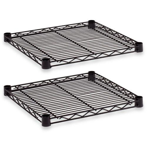Alera® Industrial Wire Shelving Extra Wire Shelves, 18w x 18d, Black, 2 Shelves/Carton