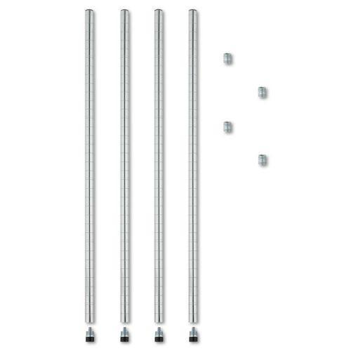 Alera® Stackable Posts For Wire Shelving, 36″ High, Silver, 4/Pack