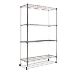 Alera® Complete Wire Shelving Unit w/Caster, Four-Shelf, 48 x 18 x 72, Black Anthracite